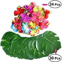 LUOEM Hojas de palmeras tropicales artificiales Hoja de simulación y flores de hibisco realistas Pétalos de fiesta hawaiana de Luau Decoraciones de fiesta temática de la playa de la selva