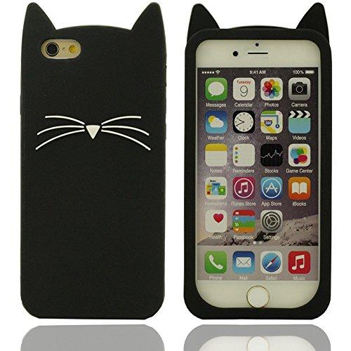 Moustaches Motif Creative Design Chat Grus disque Coque de protection en silicone case pour couvrir les cas Apple iPhone 6S / 6 4.7 Inch (noir) noir