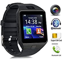 Bluetooth Reloj Inteligente, DXABLE SmartWatch con cámara, pantalla táctil desbloqueada Reloj celular con ranura para tarjeta SIM para Android iOS Smartphone Hombres Mujeres Niños Kids Idea de regalo (Grey)