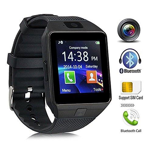 Bluetooth Smartwatch Android, DXABLE Smart Watch mit SIM-Kartensteckplatz machen Telefonanrufe Schrittzähler Schlaf Monitor Kamera Support Nachricht Benachrichtigung TF-Karte kompatibel mit Android oder iOS-System Smart-handy T-mobil