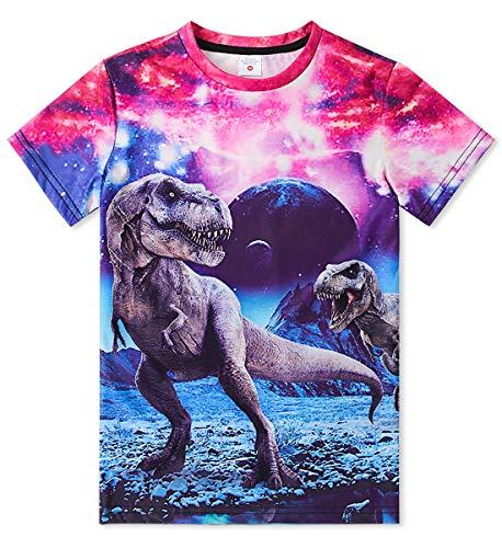 Idgreatim Jungen Mädchen 3D Dinosaurier Graphic Short Sleeve Cooles lustiges T-Shirt Top T-Shirt Größe 10-12 -