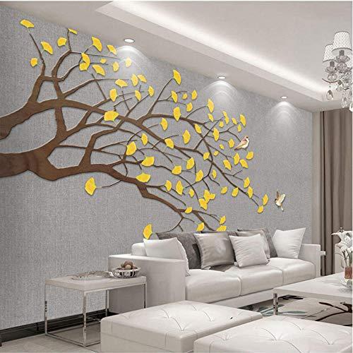 Benutzerdefinierte mural tapeten wohnkultur wohnzimmer sofa studie schlafzimmer große wandbilder golden ginkgo blatt vogel baum 3d fototapete 200x140 cm