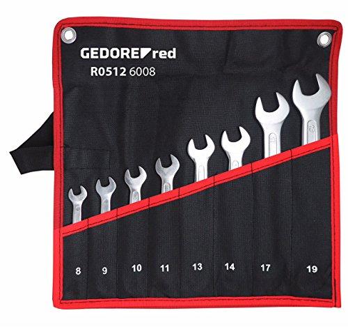 GEDORE red Doppelmaulschlüssel-Satz in Rolltasche kurz, metrisch, 8-teilig
