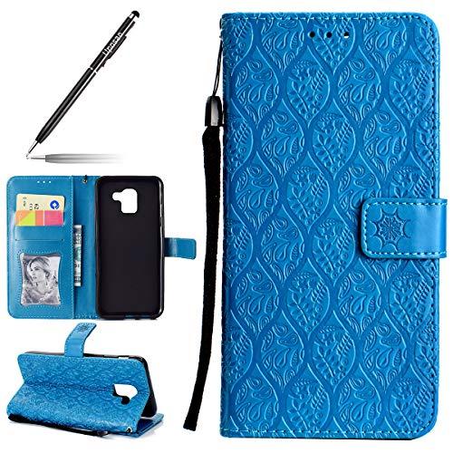 Uposao Hülle Kompatibel mit Samsung Galaxy J6 2018 Handyhülle, Prägung Blumen Muster Handytasche Flip Case Cover Schutzhülle Ledertasche Lederhülle Bookstyle Klapphülle Kartenfächer,Blau