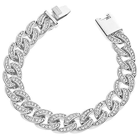 Iced Out Gourmette Bracelet - CUBAN CZ 15mm argent