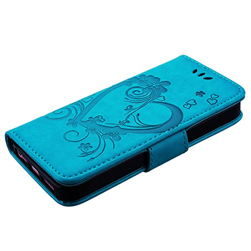 HB-Int 3 en 1 Bleu PU Cuir Housse Etui pour Apple iPhone SE / 5 / 5S Coeur Fleur Motif Coque Protecteur Stand Fonction Couverture Flip Wallet Cover Case Card Slots Book Style Coque Magnétique avec Lan Bleu