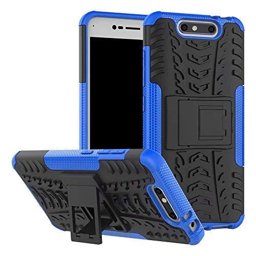 ZTE Blade V8 Hülle, SMTR 2in1 Ultra Slim Silikon Rückseite Schutzhülle, mit Standfunktion und Advanced Shock Absorption Technology hülle für ZTE Blade V8 , Blau