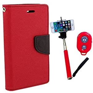 Aart Fancy Diary Card Wallet Flip Case Back Cover For Motorola Moto E - (Red) + Remote Aux Wired Fashionable Selfie Stick Compatible for all Mobiles Phones By Aart Store