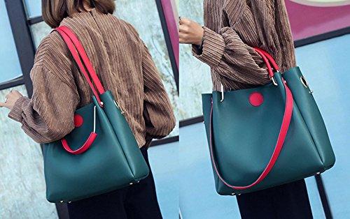 ZPFME Womens Tote Handtasche Handtasche Mode Square Tasche Shopper Leder Party Retro Damen Tasche Retro Geschenk Black