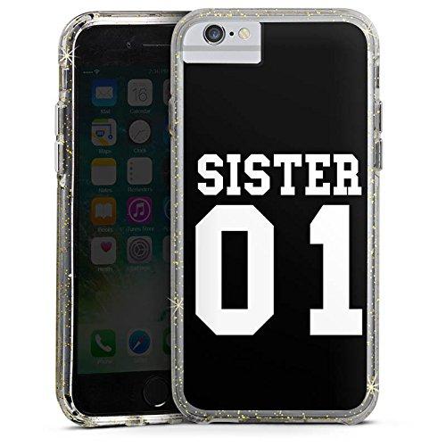 Apple iPhone 6 Bumper Hülle Bumper Case Glitzer Hülle Sister Schwester Best Friend Bumper Case Glitzer gold