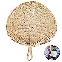 JoyFan Woven Hand held Fan Natural Handmade Palm-Leaf Fan,Raffia Hand Fans,Chinese Style Summer Cool Fan