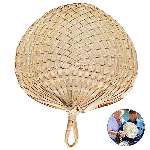 WE-WIN Hand Held Fans,Style Hand Held Fans Chinese Vintage Retro Straw Fan Plantain Leaf Round Fan Courtyard Garten Rest