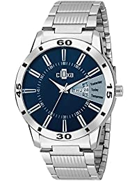 Wrist Watch By Desi Hault Day And Date Casual Analog Blue Dial Stainless Steel Chain Men's Watch
