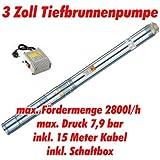 """Agora-Tec® AT- 3"""" Brunnenpumpe 550W mit 15 m Kabel Edelstahl-Tiefbrunnenpumpe mit max: 7,9 bar, 3200l/h"""