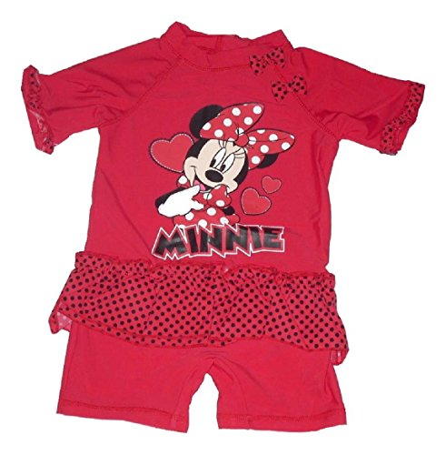 Girls UV Sun Protection Sunsuit All In One Costume UPF 40 + Disney Minnie Mouse 2-3 Years