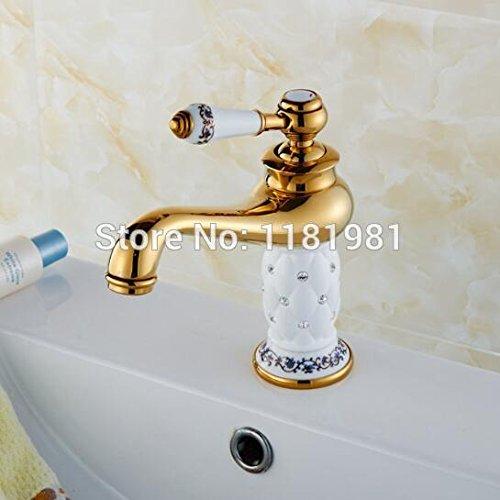 Preisvergleich Produktbild Tourmeler Gold weißer Keramik mit Diamant Luxus Deck montiert Messing Waschbecken Bad Armatur Bt-1