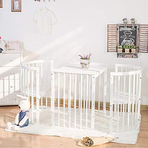 Imagen para BUDBYU Cama Cuna Blanca,ELM Bed Cuna de Cama Redonda Multifuncional de Madera Maciza,Cama de bebé recién Nacido Muebles de Cama para niños