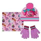 Trolls 2200-2440 Set 3 Pezzi, Coordinati Invernali, Cappello Pompon, Scaldacollo Multiuso, Guanti, Bambina, Multicolore, Principessa Poppy