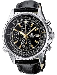 Casio Men's Edifice Analogue Quartz Watch with Leather Strap EF-527L-1AVEF