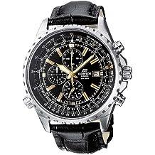 CASIO EF-527L-1AVEF Edifice - Reloj para hombre de cuarzo, correa de piel, color negro (con cronómetro)
