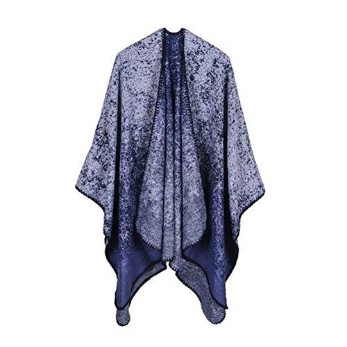 Donna Poncho Cape Mantelle Elegante Senza Maniche Vintage Moda Casual Mantellina Reversibile Autunno Inverno Scialle Calda Knitted Cachemire Poncho Sciarpe Cardigan Top Taglie Forti Blu
