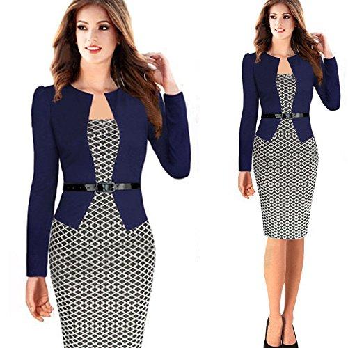 Minetom Damen Hahnentritt Elegant Kleider Business Kleider Abendkleid Etuikleid Casual Knielang Party Dress mit Gürtel Marine DE 42 -
