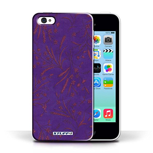 iCHOOSE Print Motif Coque de protection Case / Plastique manchon de telephone Coque pour Apple iPhone 5C / Collection Motif floral blé / Bleu/Rose Violet/Rose