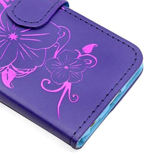 iPhone Case Cover IPhone 5S SE cas Prêt fleurs en relief motif étui avec strass PU cuir portefeuille stand cas pour Apple IPhone 5S SE ( Color : Pink , Size : IPhone 6S 4.7 Inch ) Purple