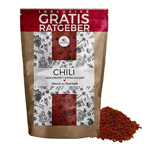Chili Chilischoten geschrotet 750g EXTRA SCHARF | getrocknete hot Chillis mit Kernen inkl. gratis...