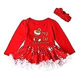 OVERDOSE Kleinkind Neugeborenes Baby Mädchen Party Prinzessin My First Christmas Weihnachtsmann Tutu Kleid + Stirnband Weihnachten Outfits Set(12-18 Monate,C-Rot)