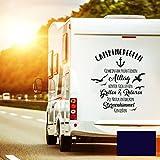 Autotattoo Camping Heckscheibenaufkleber Wohnwagen Sticker Campingregeln Autosticker Wohnmobil M2376 - ausgewählte Farbe: *dunkelblau* ausgewählte Größe: *M - 80cm hoch x 70cm breit*