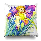 Monicago Zierkissenbezüge, Throw Pillow Covers, Artistic Cute Fairy Girl Watercolor Greeting Day Baby Birthday Butterfly Design Drawn Home Decor Pillowcase Square Size 18