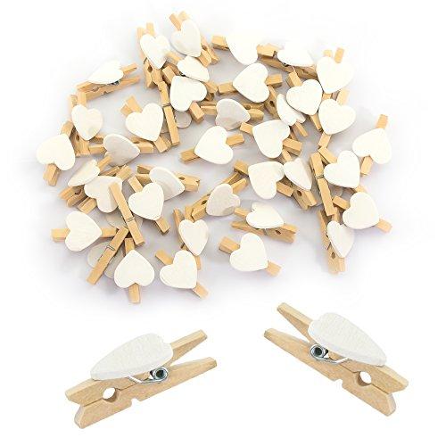 Oblique-Unique® Herz Mini Holz Wäscheklammern 50 Stück in Rot oder Weiss - Holzklammern Deko Klammern (Weiss)
