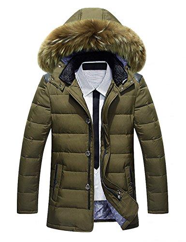 BININBOX® Herren Fashion Daunenmantel Daunenjacke Parka mit Fellkapuze Wintermantel Armeegrün