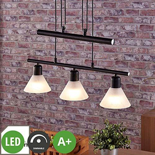 Glas Esszimmer (Lampenwelt LED Pendelleuchte 'Eleasa' dimmbar (Landhaus, Vintage, Rustikal) in Schwarz aus Glas u.a. für Wohnzimmer & Esszimmer (3 flammig, E14, A+, inkl. Leuchtmittel) - Hängeleuchte, Esstischlampe)