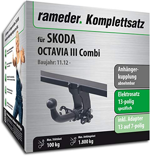 RAMEDER Komplettsatz, Anhängerkupplung abnehmbar + 13pol Elektrik für SKODA OCTAVIA III Combi (150650-11196-1)