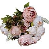Ineternet 1 Bouquet 8 Têtes Artificielles Pivoine Soie Fleur Feuille Home Party Decor de Mariage (Rose)