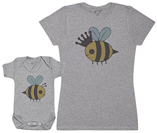 Zarlivia Clothing Queen Bee and Baby Bee - Ensemble Mère Bébé Cadeau - Femme T Shirt & bébé Bodys - Gris - S & Naissance