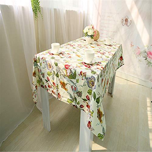 SONGHJ Tischdecken aus Baumwolle mit Blumendruck Abwaschbare und spritzwassergeschützte rechteckige Tischdecken für den täglichen Gebrauch B 140x140cm (Altmodische Zitrone)