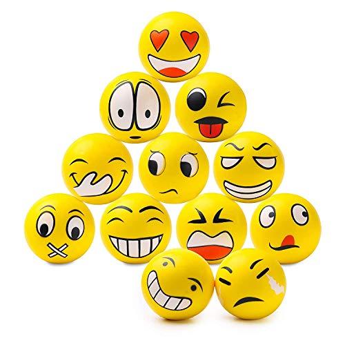 BEYUMI 12 Pack Lustige Emoji Stress Spielzeug Bälle, Squishy Bälle mit Emoji Gesichter, Stress Entlasten Gag Spielzeug Party Favor - Emojis Stress-bälle