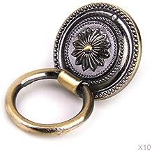 Pomello per armadio stile europeo, con anello da 35 mm, in bronzo antico (Confezione da 10)