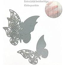 ElecMotive 100 Piezas de Tarjetas Etiquetas Decorativas en Forma de Mariposa para Invitacion Pegatinas de Pared (Gris)