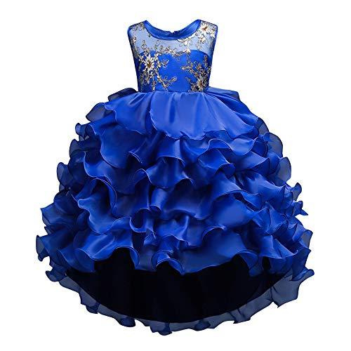 Mbby vestiti cerimonia bambine,2-14 anni vestito da carnevale per bambina abiti principessa senza manica a fiori tulle abito tutu per ragazza