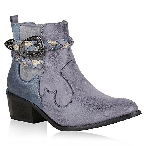 n Stiefeletten Cowboy Boots Western Stiefel Metallic Schuhe 150886 Blau 38 Flandell (Western-stiefel Für Damen Blau)