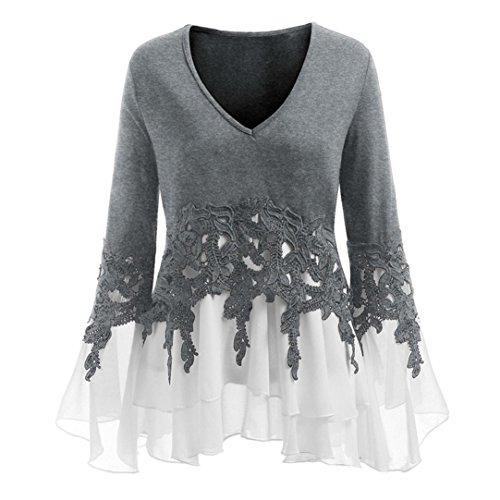 VJGOAL Damen Bluse, (38-46) Damen Mode Applique Patchwork Flowy Chiffon V-Ausschnitt Langarm Casual Party Bluse Tops (Grau, 44)