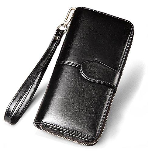 Mopaclle Luxus Wax Frauen-echtes Leder Damen Geldbörse Reißverschluss Lang Portemonnaie Handschlaufe für Damen (Schwarz)