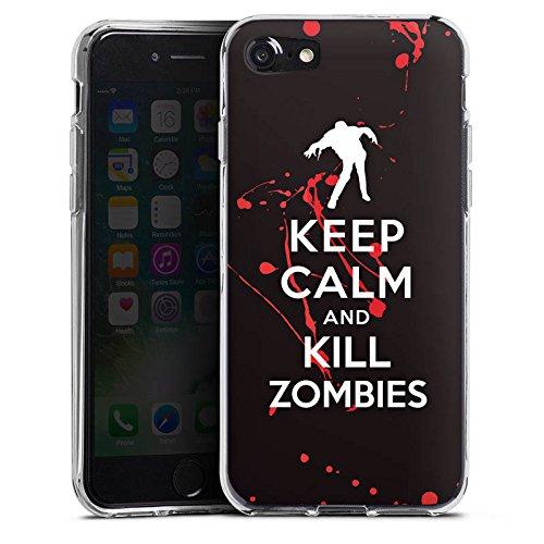 Apple iPhone X Silikon Hülle Case Schutzhülle Keep Calm Zombies Blut Silikon Case transparent
