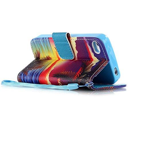 Coque pour Apple iphone 5 5s,Housse en cuir pour Apple iphone 5 5s,Ecoway Colorful imprimé étui en cuir PU Cuir Flip Magnétique Portefeuille Etui Housse de Protection Coque Étui Case Cover avec Stand  D-2