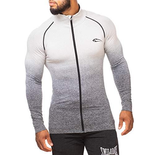 SMILODOX Herren Slim Fit Jacke 'Easily' | Slim Fit Laufjacke für Herren | Ideal für Sport & Outdoor | Farbverlauf | Kragen | Hoodie | Gym & Fitness, Farbe:Schwarz, Größe:XL