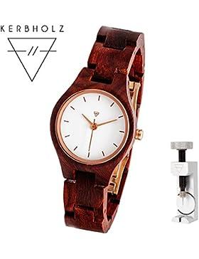 KERBHOLZ® Adelheid | handgefertigte Armbanduhr aus Edelholz | Exklusives Bundle | mit Fachwerkzeug zum Kürzen...